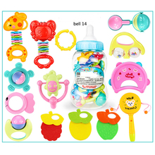 22Pcs/ Set Kids Colorful Hand Shake Bell Ring Rattles Teether Infant Teething Funny Games Toys Gift Set with Giant Baby Bottle