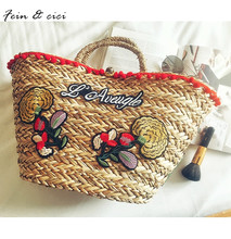 beach bag straw totes bag large Jumbo summer bags embroidery flower women letter Flora handbag 2017 new arrivals high quality(China)