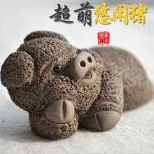 Ore purple clay handmade tea play pi xiu toad tea set tea pet decoration pig(China)
