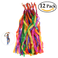 12pcs Rainbow Colored Ribbon Splice Colorful Dance Ribbon Art Gymnastics Ribbon Ballet Streamer Twirling Rod Stick