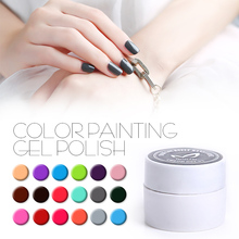 MONASI 36 Colors Nail Art Paint Color Gel Draw Painting Acrylic Classic Black Color UV Gel Tip Nail Art Pick 1 Color(DP01~DP12)