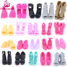 UCanaan Random Pick 10 Pairs Fashion Shoes Free Shipping Mix Style Mix Color Shoes Accessories Fit Barbie Doll Wholesale DIY(China)