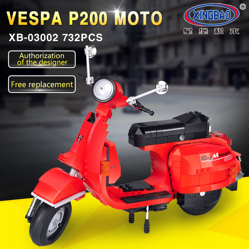 NEW XingBao 03002 732Pcs Genuine Creative Technic Classic Series The Vespa P200 Moto Building Blocks Bricks Boy Toys Model Gift<br>