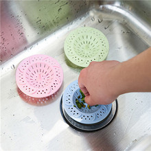 1PC Candy Color Plaisitic Kitchen Bathroom Anti Clogging Silicone Drain Sink Sewer Debris Filter Net Practical(China)