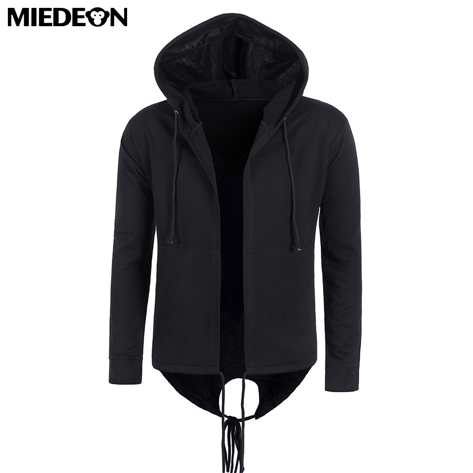 MIEDEON Men's Cotton Casual Hooded Gown Casual Unisex Black Gown Hip Hop Hoodies Sweatshirts Design Autumn Spring Coak Coats