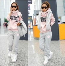 2016 Winter Women's Sport Suit Women Leisure Sports Hoodie Set Three-piece Female Sports Sweatshirt Suit Sportswear Costume