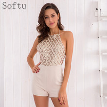 Buy Softu Sexy Sequin Playsuit Women Halter Lace Backless Shoulder Sleeveless Shorts Playsuits Club Jumpsuit Rompers