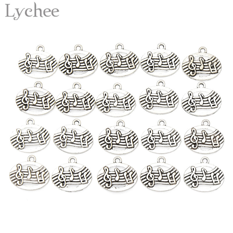 Lychee 20pcs Trendy Alloy Musical Notes Charms Antique Silver Color Oval Charms DIY Pendant Jewelry Necklace Bracelet