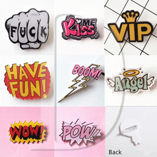 1 PCS Cartoon Letter POW Acrylic Pins Icons Badges on Backpack Stripe Decoration Brooch Lightning Badge for Clothes @Y