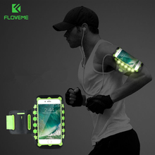 FLOVEME LED Sport Running Armband Universal Mobile Phone Gym Armband Fitness Cell Phone Bag Case Cover For iPhone 7 6 6S Plus 8(China)