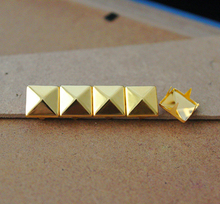 Wholesale 1000pcs 7mm Pyramid Studs Gold Nickel Punk Rock Rivet DIY Nailhead For Leathercrafts/Free Shipping(China)