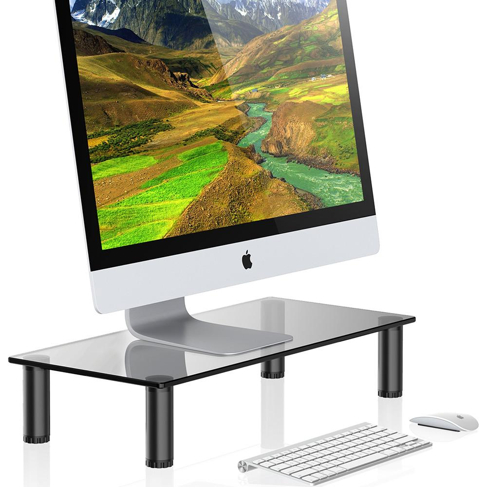 FITUEYES Black Computer Monitor Riser laptop stand 4.7 High 23.6 Save Space Desktop Stand with height adjustable DT106002GT<br>
