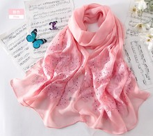 Hot Sale 100% Silk Scarf Muslim Hijab Muffler Shawl  Embroidery quality Wrap Floral New Scarves Black Red Pink