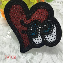 1Pcs Stars Designs Heart eye Logo Embroidered Big Patches Clothes Cute Sequins Patch DIY Hotfix Motif Applique Free Shipping