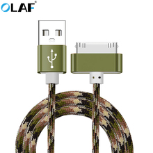 OLAF 1M Nylon Braided 30 Pin Cahrge Cable Fast Charger Data Sync USB Cable For iphone 4 4s 3GS iPad iPod Nano itouch 4(China)