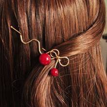 1Pcs Women Lady Girls Lovely Korean Red Cherry Shaped Bowknot Hairpin Twist Hair Clip Hairpin Barrette Hair Accessories