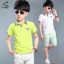 2017 Kids Boys Short-sleeved Suit Summer Children's Cotton T-shirt + Boy Shorts 5-15 Years Teenager Boy' Sets Polo Tee + Shorts
