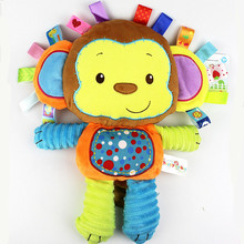 Free shipping Plush baby toys appease infants teddy appease towel grasping rattles, BB, multi-functional brinquedos para bebe(China)