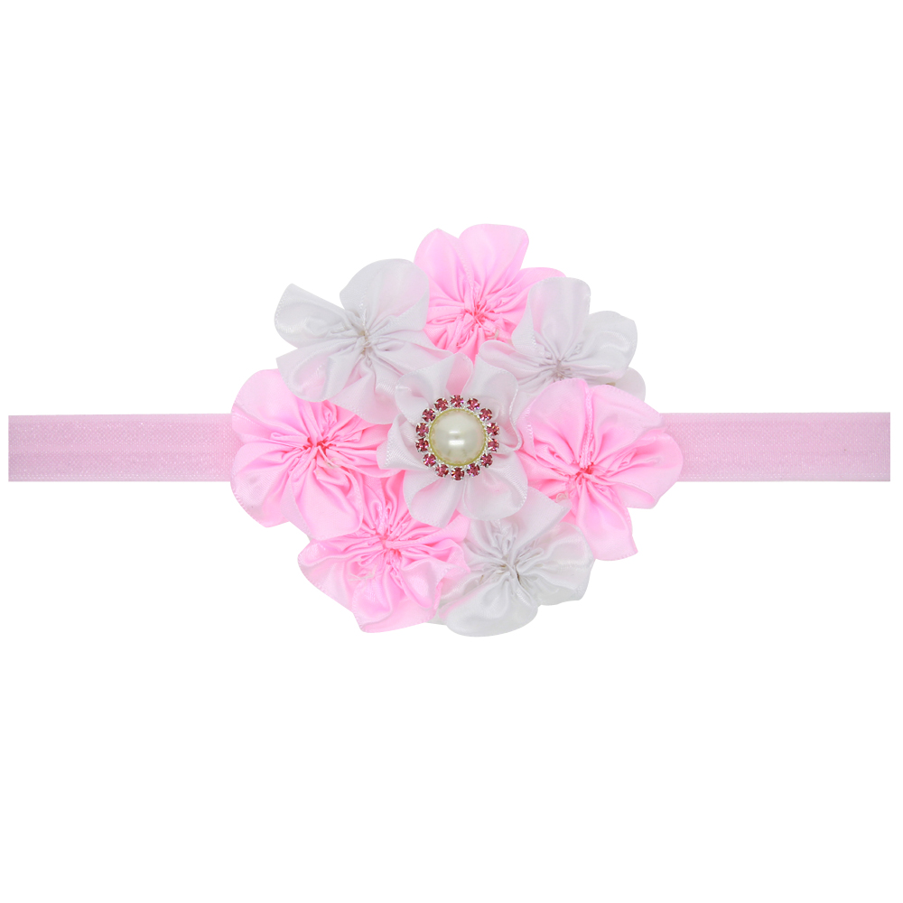 NEW Floral Headband chiffon Flower lace diamond Hairband Hair Weave Band hairband kids Accessories Gifts Stock H143(China (Mainland))
