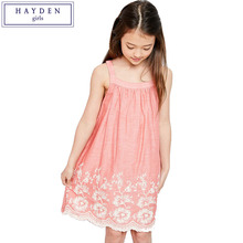 HAYDEN Girls Tank Dress Cotton Summer 2017 Teenage Girl Kids Sleeveless Floral Embroidered Dress Fashion Brand Clothes Teens