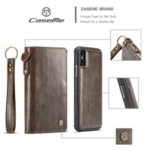 CASEME for iPhone X Phone Case Split Leather Wallet Cover + Detachable PC TPU Hybrid Case for AppleiPhone X/10 Smartphone Capa(China)