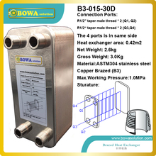 30plates wort copper brazed stainless steel plate heat exchangers for water heating system(China)