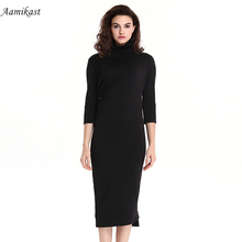 Buy Aamikast Women Vintage Dress Asymmetrical Business Formal Dresses Black Work Office Vestidos Plus Size Women Clothing for $14.63 in AliExpress store