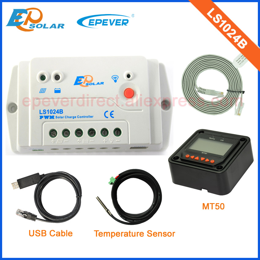 Solar charger battery controller PWM 10A LS1024B with the MT50 remote meter temperature sensor and USB cable <br>