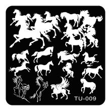 Square Nail Art Stamping Plates Pegasus Horse Designs Stainless Steel Polish Template 1 Pcs 3D Stencils For Lady Nails TU-009