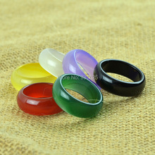 6mm Wide Natural Agate Lucky ring Party Lover's Jade rings Large Round Wider Ring women and men Clear Ring Fashion Jewelry