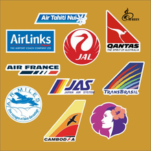 10pcs/lot airline decal Japan air system Notebook refrigerator skateboard trolley case backpack PVC waterproof travel sticker