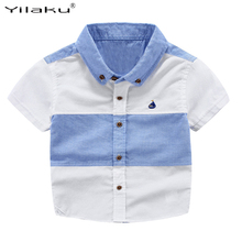 2017 Summer Boys Shirts Short Sleeve Kids Shirts for Boys Fashion Patchwork Shirt Kids Blouse Tops Children Clothing CG074