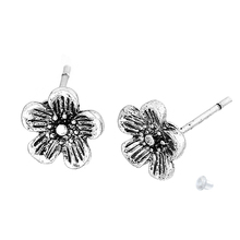 Doreen Box Earring Ear Post Stud Earrings Plum Blossom Flower Antique Silver W/ Stoppers 8mm x 8mm,2 PCs 2017 new