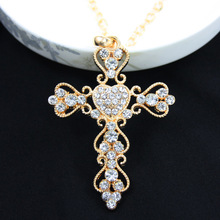 Fashion Jewelry Gold Cross Necklace Pendant Big Rhinestone Necklace Hollow Necklaces Pendants Women Men Jewelry Hip Hop nkek05