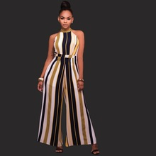 TYJTJY Vestidos Women jumpsuits big women 2017 new bodysuit overalls sexy sexy striped banded wide leg piece body body jumpsuit
