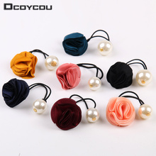 3 pcs Korea Hair Ring Women Girl Fashion Flower Rose Pearl Hair Tie Head Ornaments Hair Band Hair Accessories