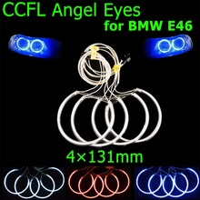 4x131mm CCFL Angel Eyes Headlight Halo Rings Kit Decoration Head Lamp Color Blue Red White for BMW E46 E39 E38 E36 FREE SHIPPING
