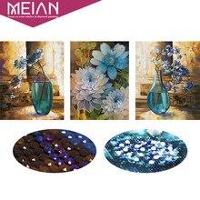 Meian, 5D, особой формы, Алмазный Вышивка, цветок, ваза, полный, DIY, алмаз живопись, вышивка крестом, Алмазная мозаика, шарик картину, Декор(China)