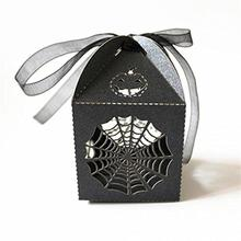 50pcs Cobweb Style Hens Night Out Fun Halloween Party Gift Favor Candy Boxes & Ribbons (Black)