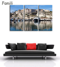 3 Piece Modern Canvas Painting Italy Landscape Wall Art Poser Print Beautiful City River Pictures Home Decor for Bedroom