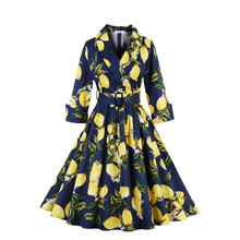 2017 Women Autumn Winter Wear Ball Gown Dress Vestido Three Quarter Sleeve Print Vintage Rockabilly Party Night Club Dresses