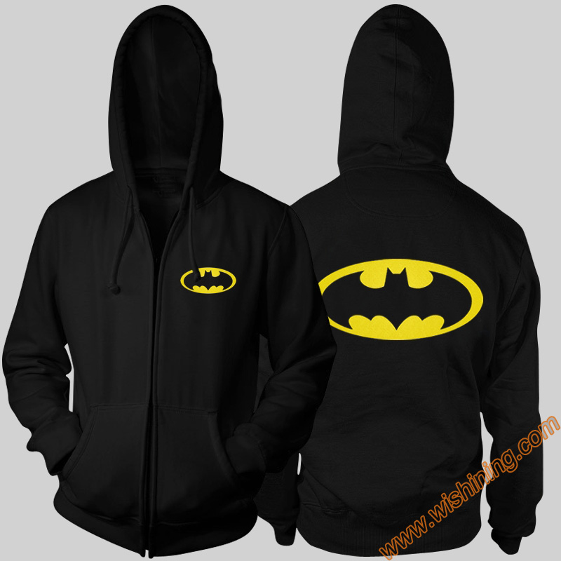 2017 Cool Marvel Superhero Batman hoodies Mens Boys  Black Blue Red 3XL Full ZIp Bat Man Cosplay Hooded Sweatshirt