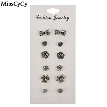 MissCyCy Hot Selling 6 pairs/sets Flowers Earrings Set Alloy Bow Stud Earrings For Women Vintage Bow Jewelry Gift