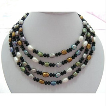 Charming 67inches 6-12mm Baroque Multicolor Natural Freshwater Pearl Necklace Made With Black Crystal Beads Jewelry.