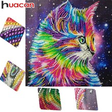 Huacan 5D Diamond Embroidery Animals DIY Diamond Painting Special Shaped Cat Colorful Picture Of Rhinestone Cartoon 25x25cm(China)