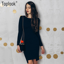 Toplook 2017 Black Vintage Bodycon Dress Womens Autumn Winter Long Sleeve Knee-Length Vestidos O-Neck Fitness Elegant Dresses(China)