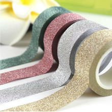 1 PCS New Glitter Washi Tape Scrapbook Decor Adhesive Paper Sticker DIY Craft 10 Colors Cute Gift Staionery