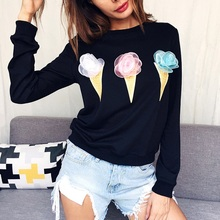 Buy Autumn Long Sleeve Casual Women Loose T-shirts Ice Cream Printed Tops T-Shirts Clothes Ladies Top Tees Cotton Blend Clothing for $10.26 in AliExpress store