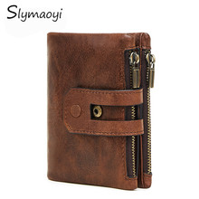 Buy Slymaoyi New Arrival Genuine Leather Men's Wallet Vintage Coin Purse Zipper&Hasp Small Solid RFID Card Holder Carteira Hombre for $14.98 in AliExpress store
