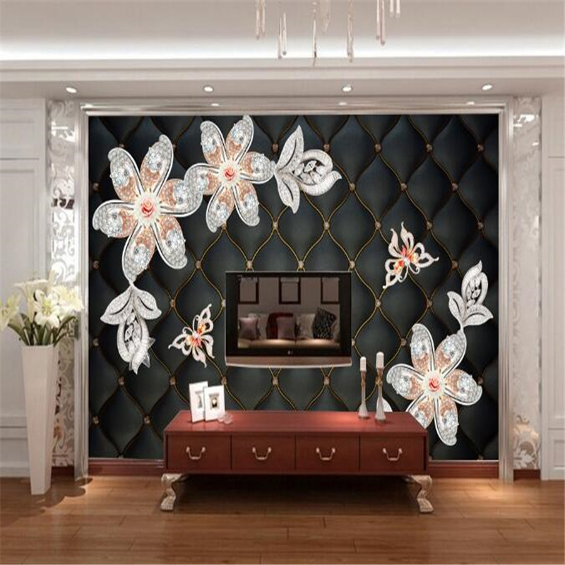 Custom Wallpaper 3D Stereoscopic Flower Photo Wall Murals Luxury Black Wallpapers Wall Papers for Living Room Home Decor TV Wall<br>